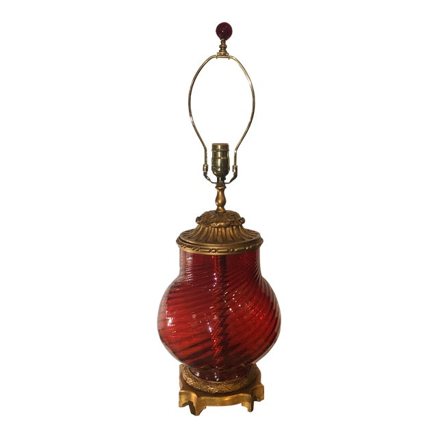 Millie Hampshire Designer Ruby Red Glass Table Lamp For Sale