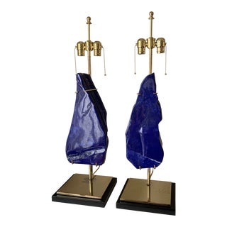 1990s Lapis Lazuli Lamps - A Pair For Sale