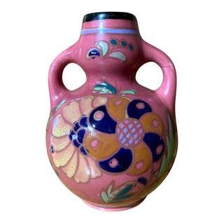 Pink Floral Vase Made in Japan For Sale