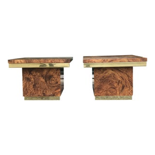 Vintage Faux Burl Side Tables - a Pair