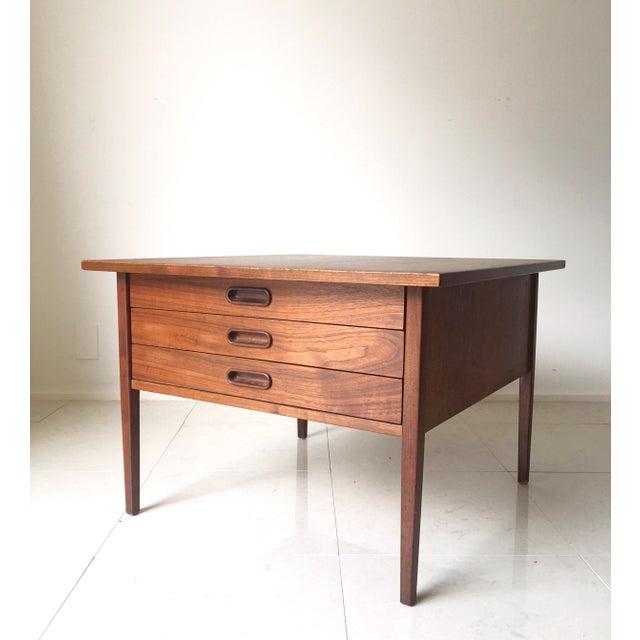 Jens Risom Style Walnut Three Drawer Table - Image 2 of 7