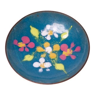 Vintage Moissiadis Greece Enamel on Copper Floral Pin Dish For Sale