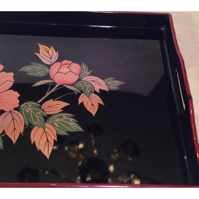 Mid-Century Modern Japanese Lacquer Tray With Floral Design - Image 9 of 11