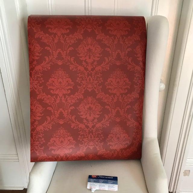 Norwall Red Damask Wallpaper Rolls Set Of 10