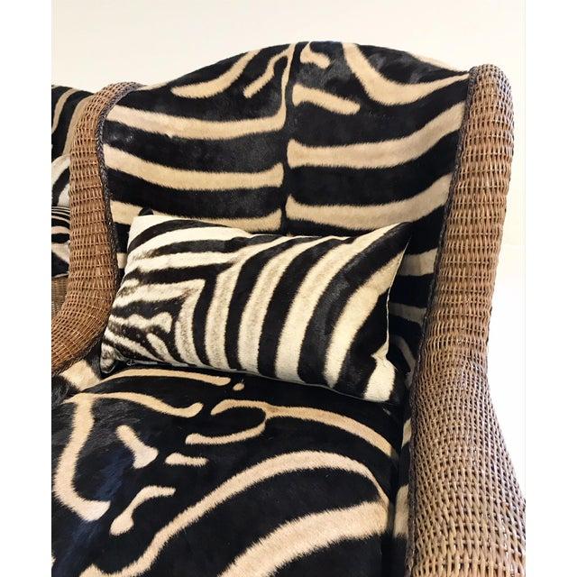 Vintage Ralph Lauren Wicker Wingback Chairs Restored in Zebra Hide - Pair For Sale - Image 10 of 12