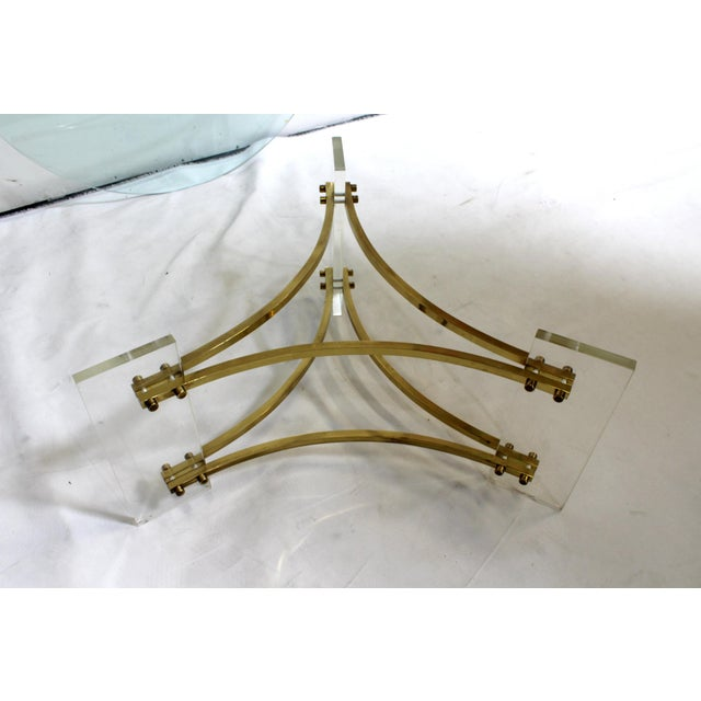 Charles Hollis Jones Mid-Century Brushed Brass & Acrylic Coffee Table For Sale In Dallas - Image 6 of 9