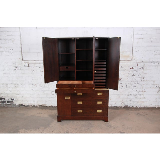 Milo Baughman for Directional Custom Collection Campaign Style Gentleman's Chest For Sale In South Bend - Image 6 of 13