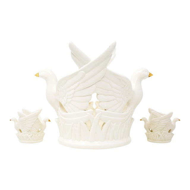 Ceramic Flying Doves Candle Holders - Set of 3 For Sale
