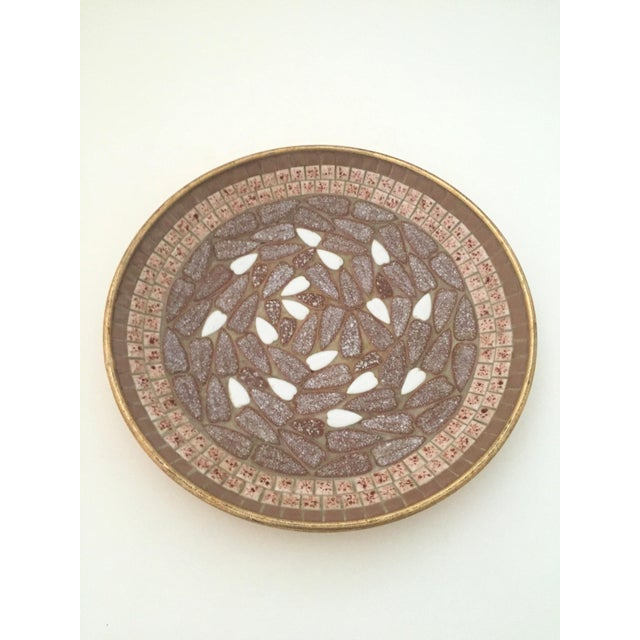 Mid 20th Century Vintage Mid Century Modern Handcrafted Multi Tone Brown Mosaic Tile Large Bowl For Sale - Image 5 of 9