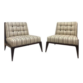 Pair Modern Striped Lounge Chairs For Sale