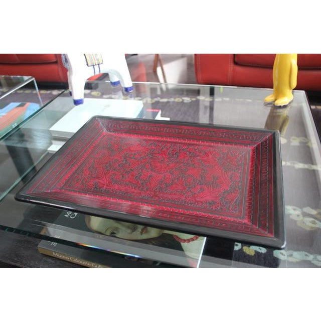 Red & Black Hand-Carved Wooden Tray For Sale - Image 3 of 5