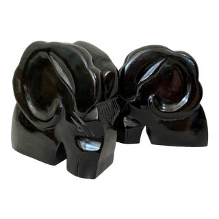 Vintage Black Wood Rams Head Bookends- a Pair For Sale