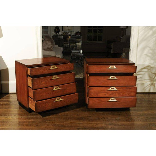 Rare Restored Pair of Commodes by John Wisner for Ficks Reed, Circa 1954 For Sale - Image 9 of 11