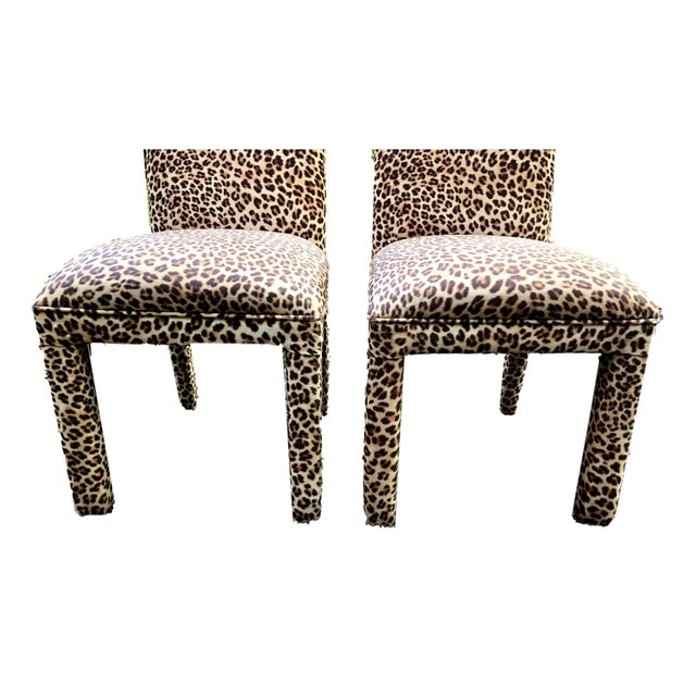 Leopard Print Parsons Dining Chairs - Set of 2 For Sale - Image 4 of 9