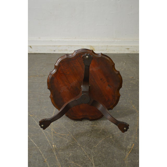 Vintage Mahogany Chippendale Style Claw Foot 3 Tier Dumbwaiter Table For Sale - Image 10 of 11