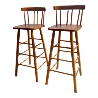"""Vintage Mid-Century Guy P. Livingstone """"Modern Bar Stools #703""""- A Pair For Sale"""