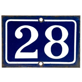 Vintage French Enamel House Number For Sale