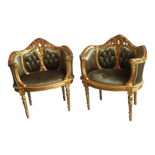 Gilded Wood & Tufted Velvet Chairs- A Pair For Sale