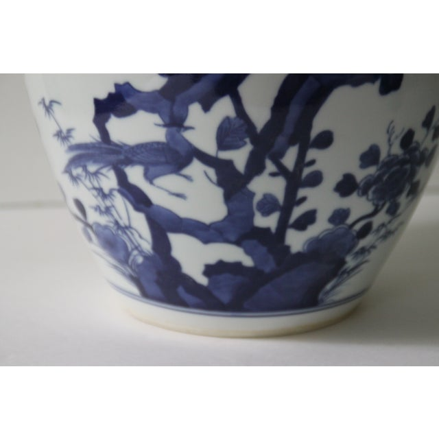 Chinoiserie Blue & White Porcelain Bird Jar - Image 4 of 5