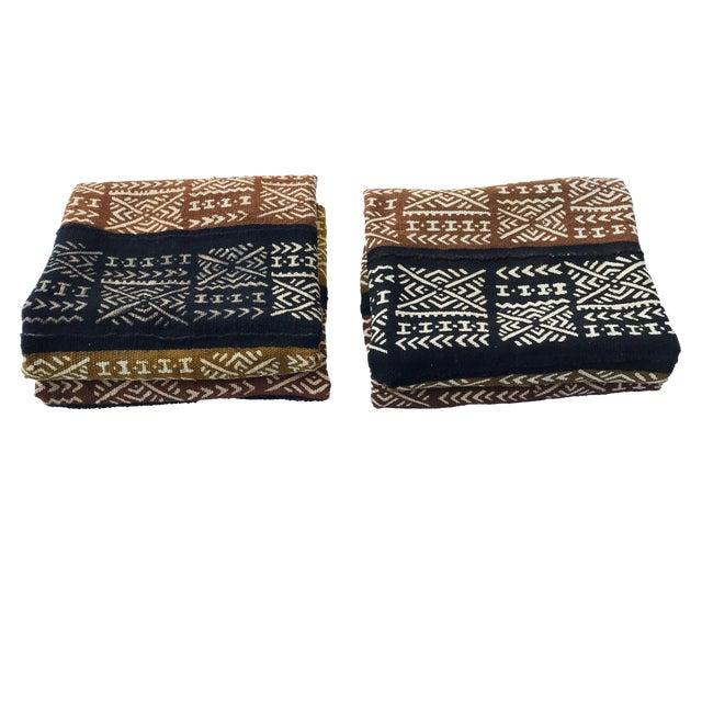 Pair of Bogolan Mali Mud Cloth Textile For Sale