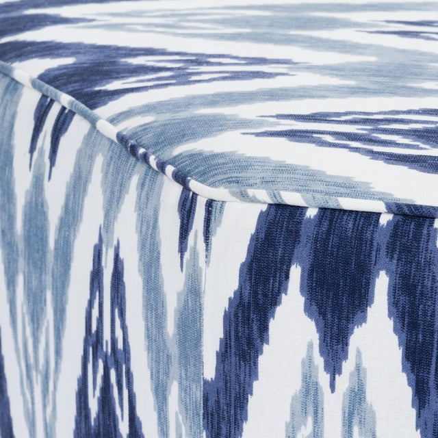 Traditional Casa Cosima Istanbul Cocktail Ottoman in Ikat For Sale - Image 3 of 6