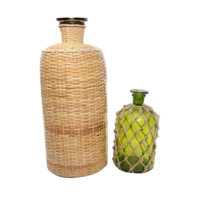 Green 1960s Italian Ballard Cane and Jute Wrapped Demijohn Wine Cooler Decanter - Set of 3 For Sale - Image 8 of 13