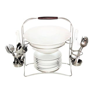 Wallace Fine China Salad Buffet Service Set in Wire Caddy For Sale