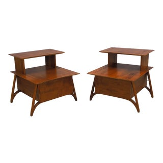 1970s MCM Walnut Two Tier Nightstands on Sculpted Legs - a Pair For Sale