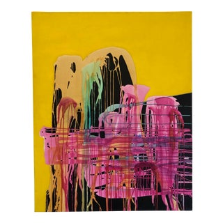 1975 Abstract Expressionism Acrylic Painting on Canvas For Sale