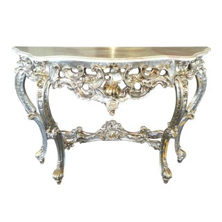 20th Century Italian Fab Heavily Carved Rococo Italian Silver Leaf Console Table For Sale