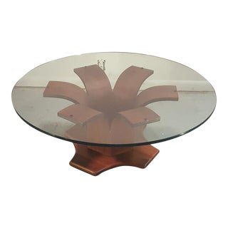Sculptural Walnut and Glass Mid Century Coffee or Cocktail Table For Sale