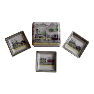 Vintage English Railway Porcelain Box & Dishes - Set of 4