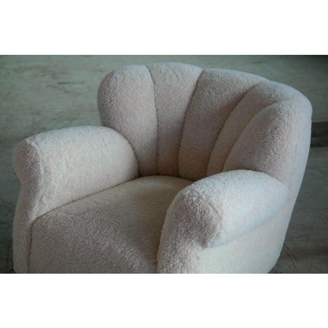 1940s Pair of Danish Fritz Hansen Model 1518 Large Size Club Chair in Lambswool, 1940s For Sale - Image 5 of 10