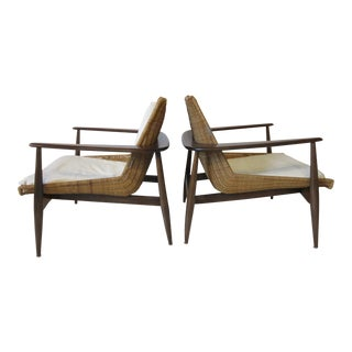 Lawrence Peabody Woven Rattan Lounge Chairs For Sale