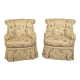 Image of Hickory House Animal Print Formal Upholstered Club Chairs- A Pair For Sale