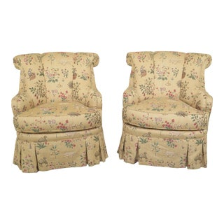 Hickory House Animal Print Formal Upholstered Club Chairs- A Pair For Sale