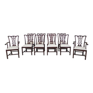 1990s Vintage Henkel Harris Model 107 Mahogany Dining Room Chairs- Set of 10 For Sale