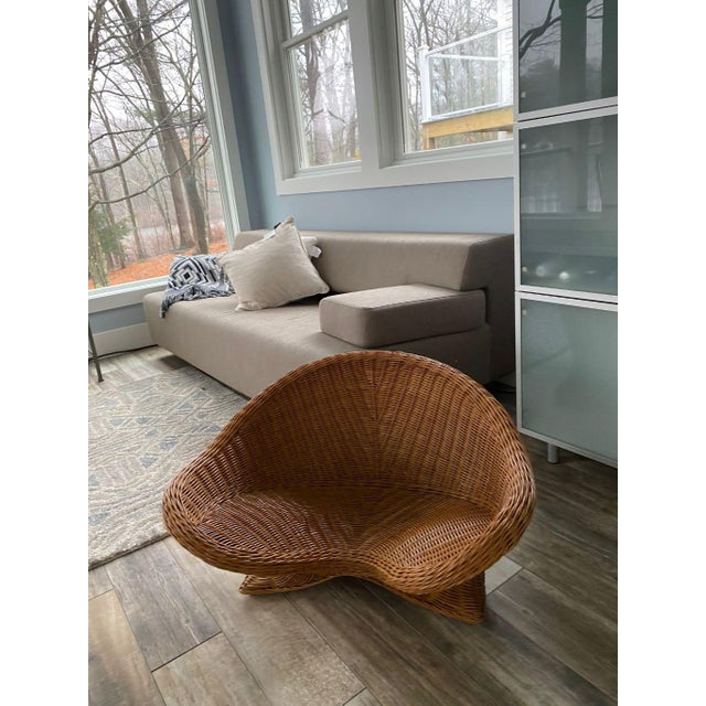 Brown 1950s Mid Century Modern Wicker Chair For Sale - Image 8 of 9