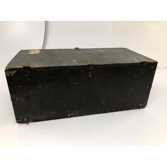 Vintage Industrial Wood Military Foot Locker With Tray For Sale - Image 6 of 13