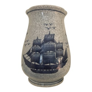 Blue/Gray Ships Crackke Finish Vase