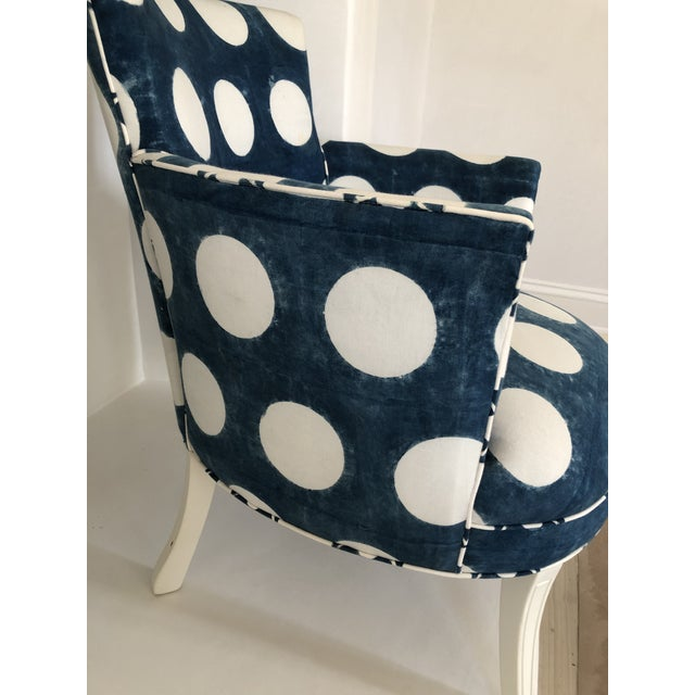 Boho Chic Les Indiennes Blue Reverse Dot Occasional Chair For Sale - Image 3 of 6
