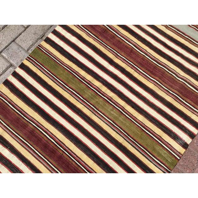 1960s Vintage Striped Turkish Kilim Runner Rug For Sale - Image 5 of 9