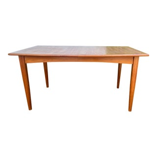Mid 20th Century Teak Dining Table with 2 Butterfly Fold-In Leaves For Sale