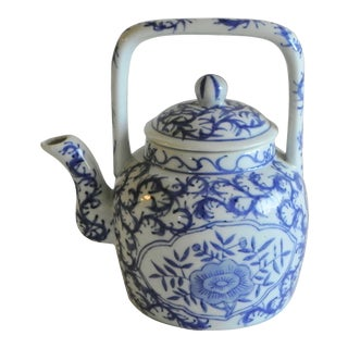 Mid 20th Century Blue & White Porcelain China Tea Pot With Squared Handle For Sale