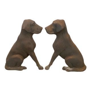 Cast Iron Labrador Retriever Dog Andirons - A Pair For Sale