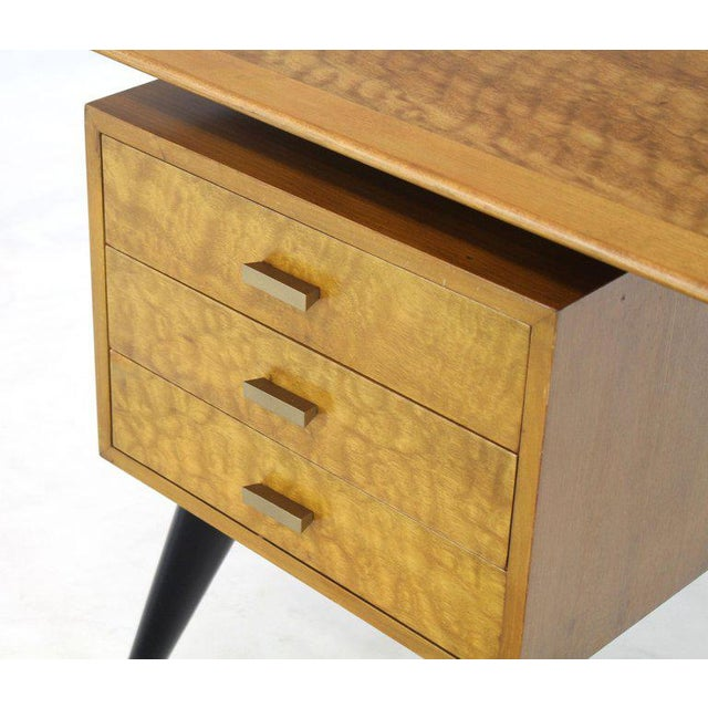 Italian Birch Tiger Maple Exposed Sculptural Legs One Pedestal 4 Drawers Desk For Sale - Image 11 of 13