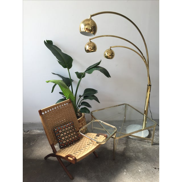 Mid-Century Brass 3 Branch Orb Lamp W/ Marble Base - Image 10 of 10