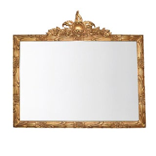 Gold Hand Carved Antique French Louis Philippe Mirror Régence Ribbon Motif For Sale