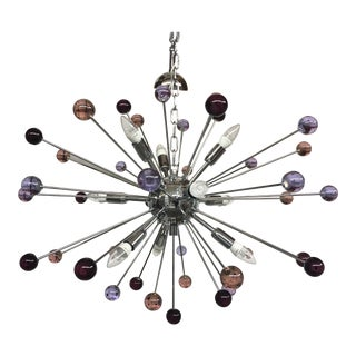 Chandelier Murano Glass Triedo Sputnik Multicolors For Sale