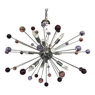 Chandelier Murano Glass Triedo Sputnik Multicolors For Sale